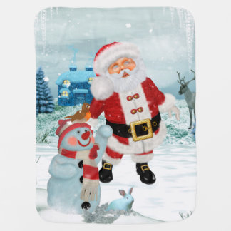 Funny Santa Claus with snowman Baby Blanket
