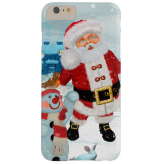 Funny Santa Claus with snowman Barely There iPhone 6 Plus Case