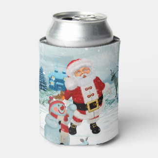Funny Santa Claus with snowman Can Cooler