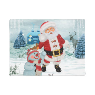 Funny Santa Claus with snowman Doormat
