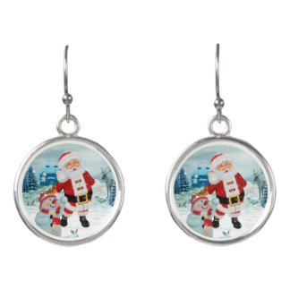 Funny Santa Claus with snowman Earrings
