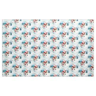 Funny Santa Claus with snowman Fabric