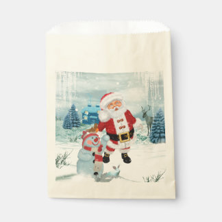 Funny Santa Claus with snowman Favour Bag