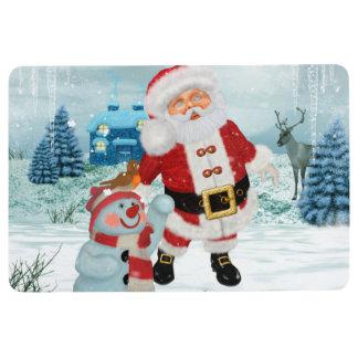 Funny Santa Claus with snowman Floor Mat