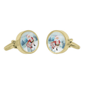 Funny Santa Claus with snowman Gold Finish Cuff Links