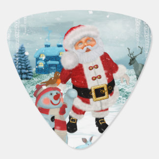 Funny Santa Claus with snowman Guitar Pick