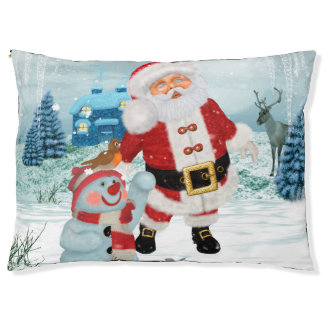 Funny Santa Claus with snowman Pet Bed