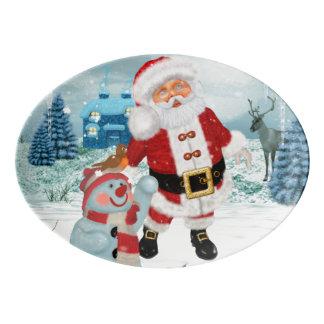 Funny Santa Claus with snowman Porcelain Serving Platter