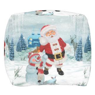 Funny Santa Claus with snowman Pouf