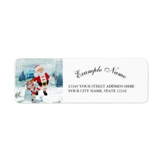 Funny Santa Claus with snowman Return Address Label