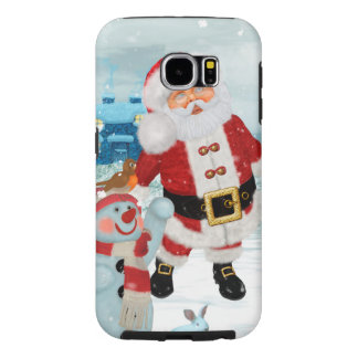Funny Santa Claus with snowman Samsung Galaxy S6 Cases