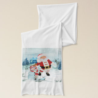 Funny Santa Claus with snowman Scarf