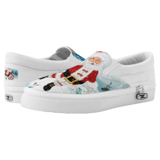 Funny Santa Claus with snowman Slip On Shoes