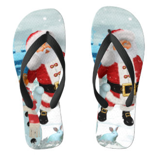 Funny Santa Claus with snowman Thongs
