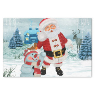Funny Santa Claus with snowman Tissue Paper