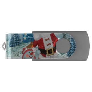 Funny Santa Claus with snowman USB Flash Drive