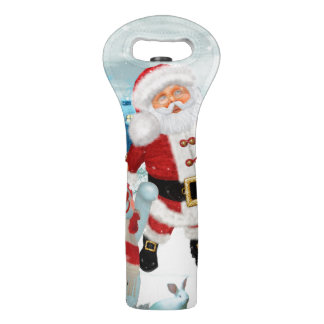 Funny Santa Claus with snowman Wine Bag
