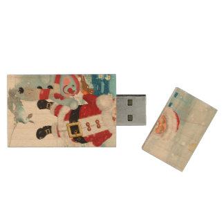 Funny Santa Claus with snowman Wood USB Flash Drive
