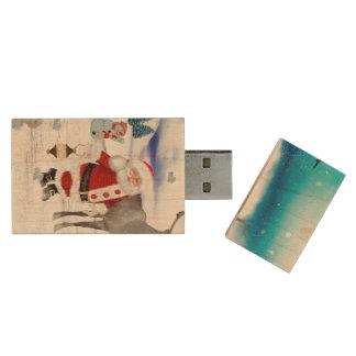 Funny Santa Claus Wood USB Flash Drive