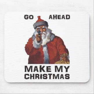 Funny Santa Clause aiming gun - make my Christmas Mouse Pad
