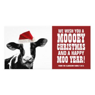 Funny Santa Cow Mooey Christmas Dairy Farm Card