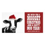 Funny Santa Cow Mooey Christmas Dairy Farm Photo Cards