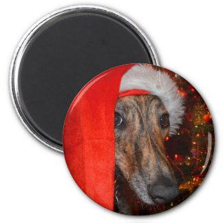 Funny Santa Dog -Lurcher Greyhound Christmas Hat 6 Cm Round Magnet