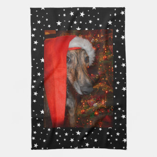 Funny Santa Dog Lurcher Greyhound Christmas Stars Tea Towel