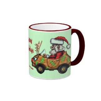 Funny Santa driving Rudolph car mug design