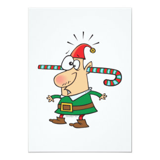 funny santa elf with candy cane thru ears invite