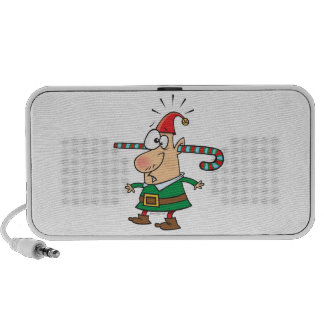funny santa elf with candy cane thru ears travel speaker