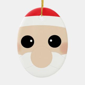Funny Santa Face Ceramic Oval Decoration