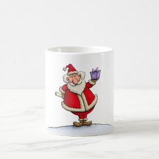 funny santa gift delivery christmas cartoon basic white mug
