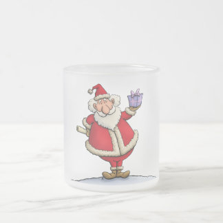 funny santa gift delivery christmas cartoon frosted glass mug