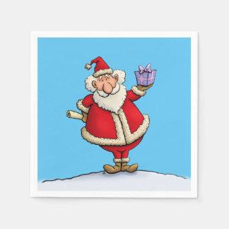 funny santa gift delivery christmas cartoon paper napkin