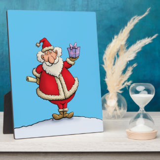 funny santa gift delivery christmas cartoon plaque