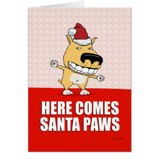 Funny Santa Paws Dog Christmas Card