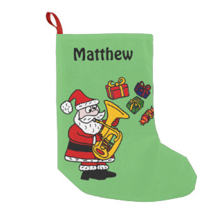 Funny Santa Playing Tuba Christmas Stocking