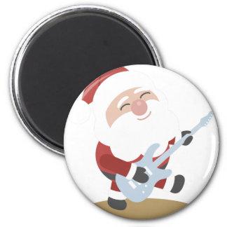 Funny Santa Rocker Musician Guitar Christmas Gift 6 Cm Round Magnet