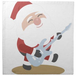 Funny Santa Rocker Musician Guitar Christmas Gift Napkin