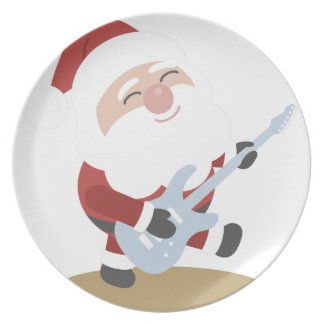Funny Santa Rocker Musician Guitar Christmas Gift Plate