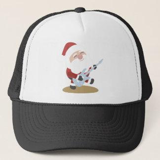 Funny Santa Rocker Musician Guitar Christmas Gift Trucker Hat