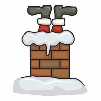 funny santa stuck in chimney photo sculpture decoration