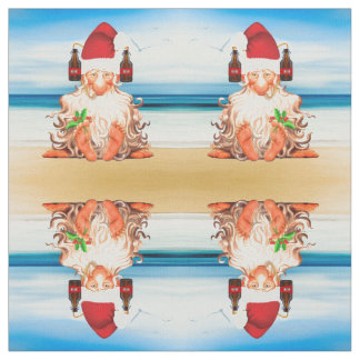Funny Santa with a Beer Hat on the Beach Fabric