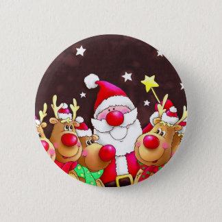 Funny Santa with reindeer 6 Cm Round Badge