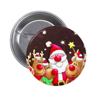 Funny Santa with reindeer 6 Cm Round Badge