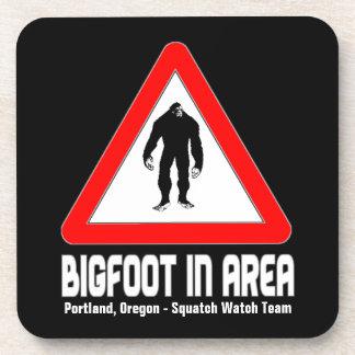Funny Sasquatch Coasters - BIGFOOT in Area Warning