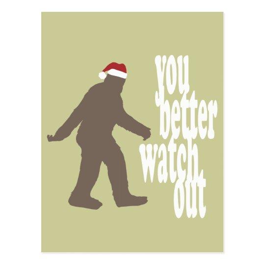 Funny Sasquatch Santa Christmas Postcard