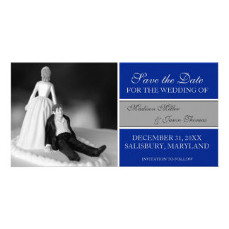 Funny Save the Date Announcements {Royal Blue} Photo Greeting Card