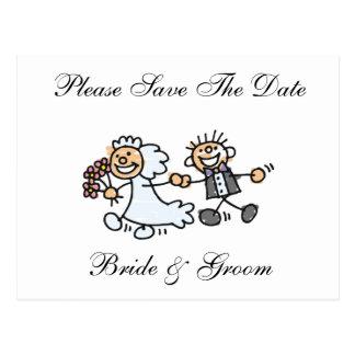 Funny Save The Date Happy Bride Groom Wedding Postcard